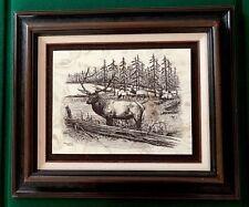 "David Frederick Gray Etched Marble Elk Limited Edition 25.5"" x 22.5"" Framed"