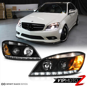 "2008-2011 Mercedes-Benz W204 C-Class Black ""AMG STYLE"" LED Projector Head Lights"
