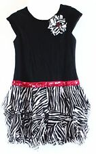 NWT GIRLS BLACK ZEBRA ANIMAL PRINT RARE EDITIONS DRESS w/ SEQUINS   SIZE 8
