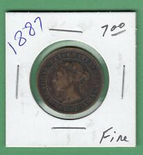 1887 Canadian Large One Cent Coin - Fine