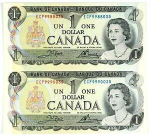 Canada 1973 $1 Uncut Pair of Bills UNC Uncirculated!!