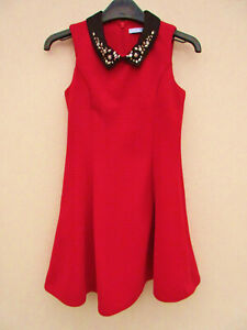 M&S - Girls Red Sleeveless Jewelled Collar Fit & Flare Dress - size 7/8 years