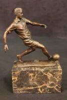Art Deco Two Soccer Player 100% Solid Bronze Sculpture Lost Wax Method Figurine