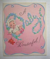 New baby diapers on the line vintage greeting card H2