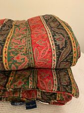 Ralph Lauren Leningrad Twin Comforter Paisley Stripe  Red Black Green