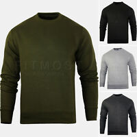 Mens Crew Neck Hoodie Casual Sweatshirt Fleece Top Plain Hoody Jumper S - 2XL