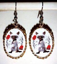 Ohrringe Weiß Katze Tiere Damen Ohrschmuck Modeschmuck Cabochon handgefertigt