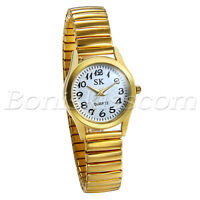 Women's Gold Tone Elastic Stainless Steel Ultra Thin Quartz Dress Wrist Watch