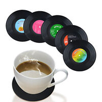 Set of 6 Music Coasters Tea Coffee Table Mug Rubber Black Cup Mat 4.2 inch Size