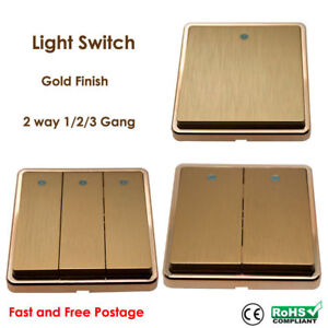 Gold Plated Classic Light Switches 1/2/3 Gang screw less UK