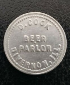 Divernon Illinois Good For Token D. COOK Bar Scarce Unlisted Town beer parlor