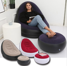 Inflatable Lounge Chair With Ottoman Chaise Lounge Air Lazy Sofa Indoor/Outdoor