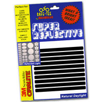 BLACK (Reflects White) 10x STRIPS Reflective Bike Cycle Helmet Safety Stickers
