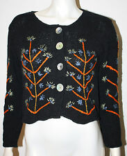 APU A People United Black Green Orange Blue Embroidered Floral Sweater S M