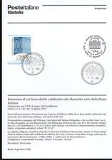 ITALIA 2008 BORSA ITALIANA  BOLLETTINO COMPLETO DI FRANCOBOLLI ANNULLO FDC