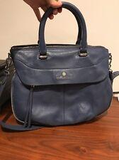 Vince Camuto Deep Sea Blue Silver Dean Satchel Expandable Side Leather $248