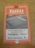 15/03/1958 Nottingham Forest v Wolverhampton Wanderers  (Light Crease/Marks, Sco