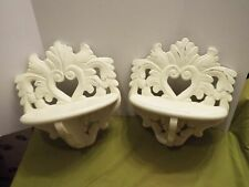 Set of 2 vintage 1990's white painted wood display shelves