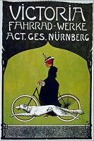 Victoria  Vintage painting Travel Poster Print  on canvas 90cm bike dog