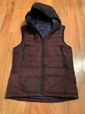 Scotch and Soda Mens Sm Down Puffer Bubble Vest Jacket Coat Burgundy With Hood