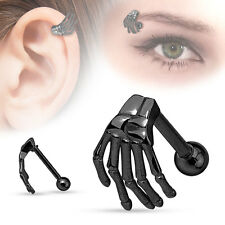 Black Skeleton Hand EYEBROW Barbell /CARTILAGE Bar EAR Rings Piercing Jewelry