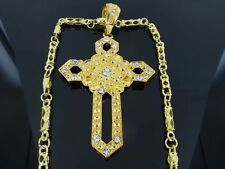 """CROSS GOLD TONE  PENDANT CHARM 30"""" CHAIN NECKLACE HIPHOP BLING"""