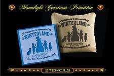 Primitive Stencil~WINTERLAND GAME COMPANY.~Vintage Style~ Snowman & Kids