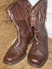 LADIES BROWN TASSEL STIRRUPS LEATHER COWBOY BOOTS SIZE 6 UK LINE DANCING WESTERN