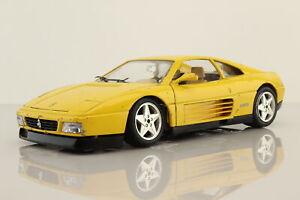 Burago 4139 1:18 Scale; 1989 Ferrari 348TB; Yellow; Fair Unboxed