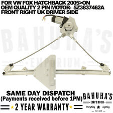 ELECTRIC WINDOW REGULATOR-  FOR VW FOX 2005>ON FRONT RIGHT SIDE WITH 2 PIN MOTOR