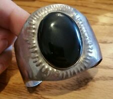 Vtg Sterling Silver Huge Heavy Wide Cuff Bracelet Onyx Cabochon Etched Chunky