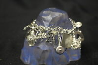 """Vintage STERLING SILVER Charm Bracelet w/20 TRAVEL Charms on7"""" Double Chain Link"""