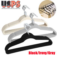 Non-Slip Flocked Velvet Huggable Hangers Clothes Hangers Suit/Shirt/Pants Bulk