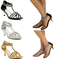 WOMENS LADIES LOW KITTEN HEEL STRAPPY SANDALS PARTY PROM WEDDING DIAMANTE SIZE