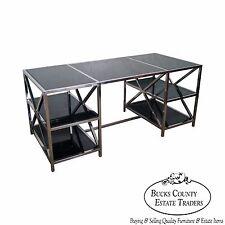 Quality Chrome Double Pedestal X Base Smoke Glass Executive Desk