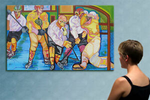 """78"""" - NHL - HOCKEY GAME ---- original cubist painting oil on canvas by ANNA"""