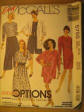 UNCUT Sewing Pattern 1992 McCALL'S 10,12 5755 CARDIGAN Dress TOP Skirt [Z180]