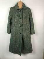WOMENS EASTEX GREEN MULTI SINGLE BREASTED BUTTON UP OVERCOAT JACKET SIZE UK 12