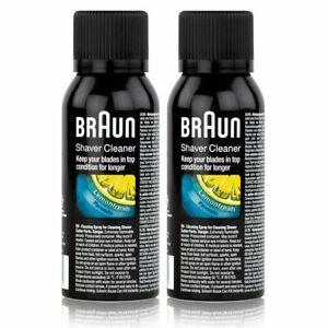 2 x 100ml Braun Shaver Hygeine Cleaner Cleaning Spray Foils Cutters Shaver Head