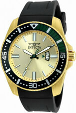 Invicta Pro Diver 21446 Men's Round Gold Tone Black Green Analog Date Watch