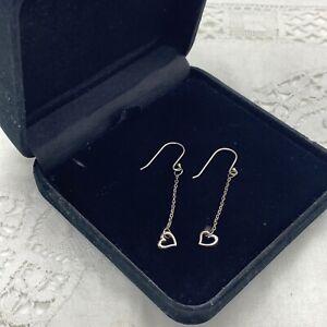 STERLING SILVER Heart Drop Earrings Pierced Hook Dangly Pretty Valentines Gift