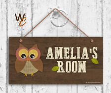 Owl Sign, Woodland Personalized Sign, Kid's Name, Kids Door Sign, 5x10 Sign