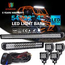 "54INCH LED LIGHT BAR DRIVING 22INCH COMBO Cube 4"" 18W LED SPOT Free Wiring Kits"