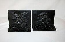 GRIFFOUL EAGLES SOLID BRONZE BOOKENDS  ( Circa 1920's ) NEWARK N.J.  ( SCARCE )