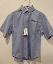 Johnnie Walker Keep Walking Mens Button Down Short Sleeve Shirt Sz Small Blue