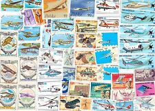 AIRPLANES 50 USED  DIFERENT STAMPS