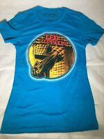 Led Zeppelin Graphic Concert Band Music T-shirt - Blue Women's Medium Tee