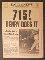 Hank Aaron Breaks Babe Ruth's Home Run Record NY Daily News 4/9/74 Newspaper 715