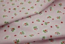 Pink with Flowers in White Floral 100% Cotton Floral Fabric Sold By Half metre