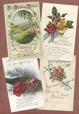 """Vintage Birthday Greetings x 4,  Lily King  """"friend at Wawne"""",  flowers    AH236"""